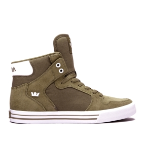 Supra Mens VAIDER Olive/white High Top Shoes | CA-84811