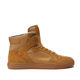 Supra Mens VAIDER Tan/Lt Gum High Top Shoes | CA-19688