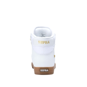 Supra Mens VAIDER White/Gold/lt Gum High Top Shoes | CA-49369