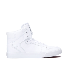 Supra Mens VAIDER White/White High Top Shoes | CA-75527