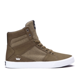 Supra Womens ALUMINUM Olive/white High Top Shoes | CA-52685