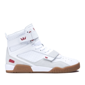 Supra Womens BREAKER White/Rose/gum High Top Shoes | CA-79791