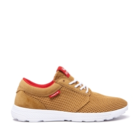 Supra Womens HAMMER RUN Tan/Risk Red/white Low Top Shoes | CA-91127