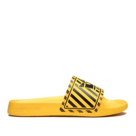 Supra Womens LOCKUP Black/Caution Stripe Low Top Shoes | CA-91444