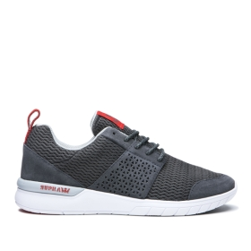 Supra Womens SCISSOR Dk Grey/Risk Red/white Low Top Shoes | CA-73144
