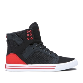 Supra Womens SKYTOP Black/Pirate Black/white High Top Shoes | CA-21007