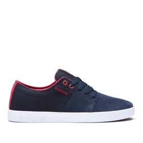 Supra Womens STACKS II Navy/Rose/white Low Top Shoes | CA-12128