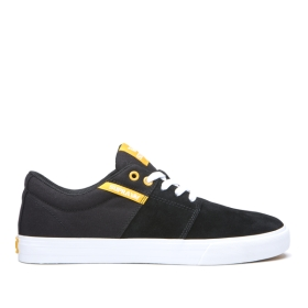 Supra Womens STACKS II VULC Black/Golden/white Low Top Shoes | CA-46827