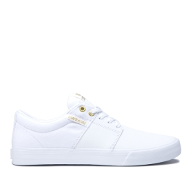 Supra Womens STACKS II VULC White/Gold/white Low Top Shoes | CA-94110