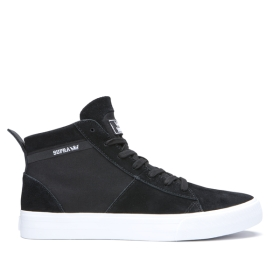 Supra Womens STACKS MID Black/Black/white High Top Shoes | CA-13425