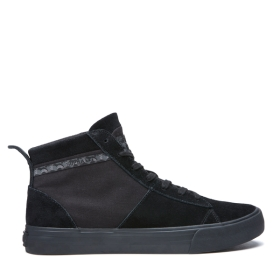 Supra Womens STACKS MID Black/Black High Top Shoes | CA-32010