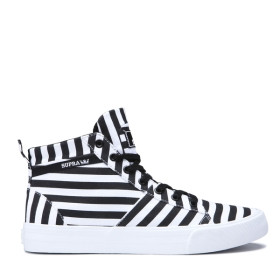 Supra Womens STACKS MID Black/White Stripe High Top Shoes | CA-20901
