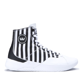 Supra Womens STATIK White Stripe/white High Top Shoes | CA-71917