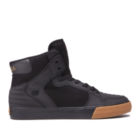 Supra Womens VAIDER Black/Black/gum High Top Shoes | CA-88715