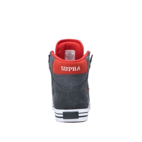 Supra Womens VAIDER Dk Grey/Risk Red/white High Top Shoes | CA-95142