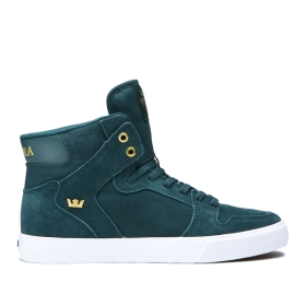 Supra Womens VAIDER Evergreen/Gold/white High Top Shoes | CA-63719
